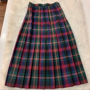 Talbots 6 Vintage Wool Plaid Pleated Maxi Skirt